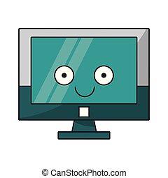 χαριτωμένος , οθόνη , ηλεκτρονικός υπολογιστής , γελοιογραφία