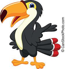 χαριτωμένος , οπωροφάγο πτηνό με μέγα ράμφο , γελοιογραφία , απονέμω
