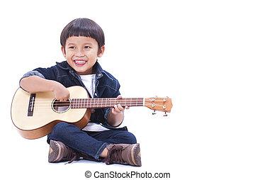 χαριτωμένος , παίξιμο , μικρή κιθάρα , αγόρι