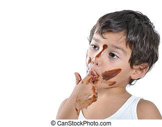 χαριτωμένος , παιδί , με , σοκολάτα , επάνω , δικός του , ζεσεεδ