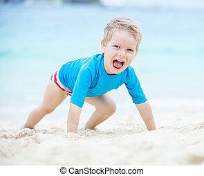 χαριτωμένος , παραλία , παίξιμο , αγόρι