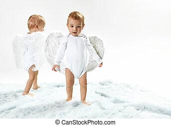 χαριτωμένος , περίπατος , άγγελος , δυο , μωρό , μαλακό , χαλί