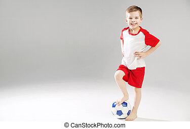 χαριτωμένος , ποδόσφαιρο , παίξιμο , παιδί
