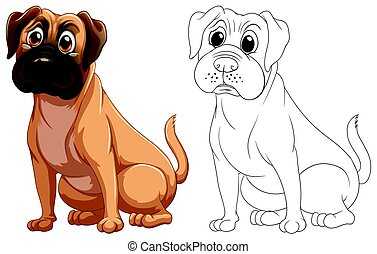 χαριτωμένος , σκύλοs , ζώο , περίγραμμα