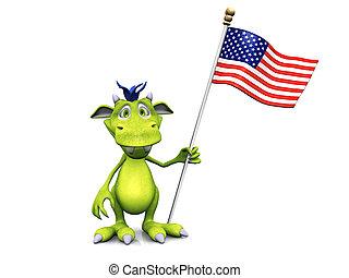 χαριτωμένος, τέρας, σημαία, αμερικανός, κράτημα, γελοιογραφία