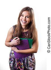χαριτωμένος , χαμογελαστά , γυναίκα μαθητής
