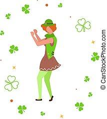 χαριτωμένος , χορός , ανάμεσα , shamrock., καλλικάτζαρος , γελοιογραφία