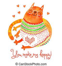 χαριτωμένος , cat., χέρι , νερομπογιά , μετοχή του draw , κάρτα