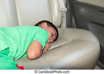 χαριτωμένος , litte, κοιμάται , αυτοκίνητο , αγόρι