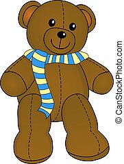 χαριτωμένος , teddy , με , φουλάρι , μικροβιοφορέας