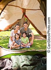 χαρούμενος , πάρκο , κατασκήνωση , οικογένεια