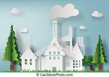 χαρτί , γαλάζιος ουρανός , τέχνη , μικροβιοφορέας , cityscape , φόντο , όμορφος , άσπρο