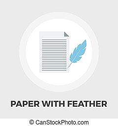 χαρτί , και , πουλί πούπουλο , πένα , εικόνα , διαμέρισμα