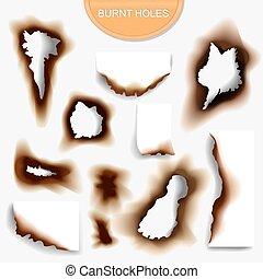 χαρτί , με , έκαψα , ανιαρός τόπος , ρεαλιστικός , illustraton