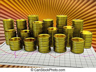χαρτί , οικονομικός γραφική παράσταση , με , χρυσαφένιος , κέρματα