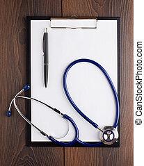 χαρτί , πένα , clipboard , στηθοσκόπιο , κενό