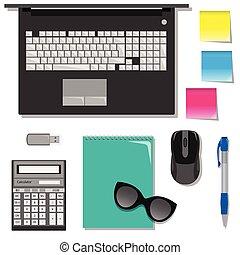 χαρτικά , διαμέρισμα , θέτω , laptop., τραπέζι