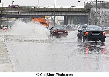 χειμαρρώδης , βροχή , κυκλοφορία