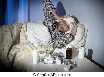 χειμώναs , γρίπη , πόνος , κρεβάτι , ιόs , άρρωστος , κρύο , άντραs , κειμένος , πονοκέφαλοs
