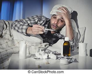 χειμώναs , γρίπη , πόνος , κρεβάτι , ιόs , δέλτος , άρρωστος , φάρμακο , κρύο , έχει , κειμένος , άντραs