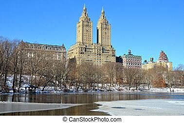 χειμώναs , μέσα , κεντρικός , park., καινούργιος , york.