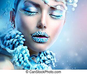 χειμώναs , ομορφιά , woman., xριστούγεννα , κορίτσι , μακιγιάζ