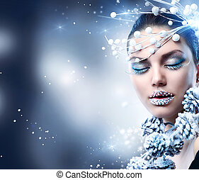 χειμώναs , woman., xριστούγεννα , κορίτσι , μακιγιάζ