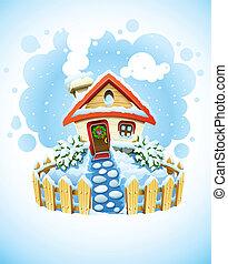 χειμώναs , xριστούγεννα , τοπίο , με , σπίτι , μέσα , χιόνι