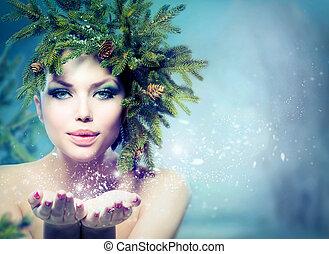 χειμώναs , xριστούγεννα , woman., γιορτή , κορίτσι , φυσώντας , χιόνι