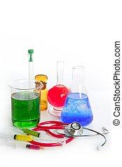 χημικός , ερευνητικό εργαστήριο , με , ιατρικός εξαρτήματα