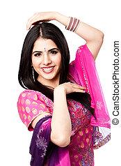 χιντού , χαμογελαστά , ινδός , αίσιος γυναίκα