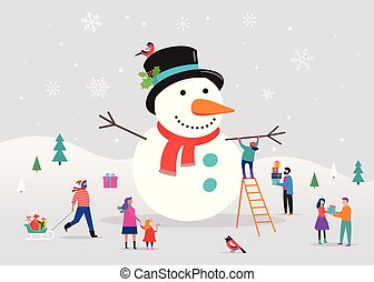 χιονάνθρωπος , γενική ιδέα , χιόνι , πελώρια , γυναίκεs , ...