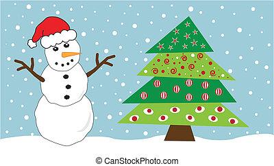 χιονάνθρωπος , δέντρο , xριστούγεννα