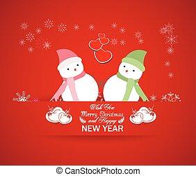χιονάνθρωπος , καινούργιος , ευτυχισμένος , έτος