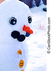 χιονάνθρωπος , μάτια , γινώμενος , χειμώναs , χειμερινός καιρός , χιόνι , καρότο αιχμή