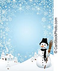 χιονάνθρωπος , με , κορνίζα