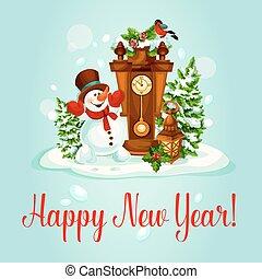 χιονάνθρωπος , ρολόι , χαιρετισμός , έτος , καινούργιος , κάρτα