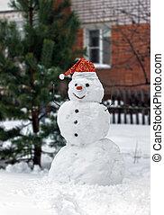 χιονάνθρωπος , σκούφοs , καρότο αιχμή , κόκκινο