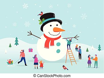 χιονάνθρωπος , bannner, γυναίκεs , κάρτα , άνθρωποι , άντρεs...