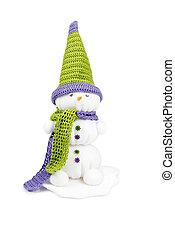 χιονάνθρωπος , buttons., γραφικός , σάλι , χειροποίητος , crocheted, καρότο , καπέλο , μάτια , μύτη