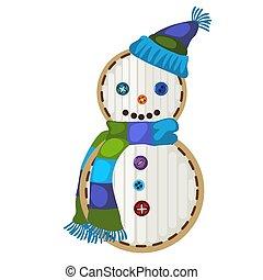 χιονάνθρωπος , illustration., μορφή , εορταστικός , απομονωμένος , κηλίδα , φόντο. , μικροβιοφορέας , άσπρο , γελοιογραφία