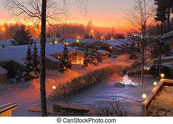 χιονάτος , βράδυ , δρόμοs , xριστούγεννα , βλέπω