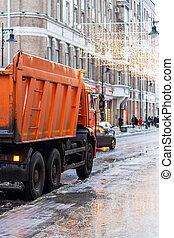 χιόνι , φορτηγό , ακολουθούμαι από , έξω