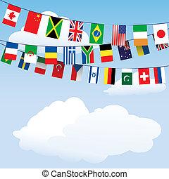 χοντρό μάλλινο ύφασμα , κόσμοs , σημαίες