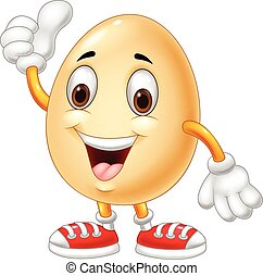 χορήγηση , αυγό , πάνω , αντίχειραs , γελοιογραφία