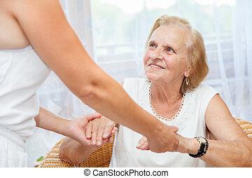 χορήγηση , νοιάζομαι για , ηλικιωμένος