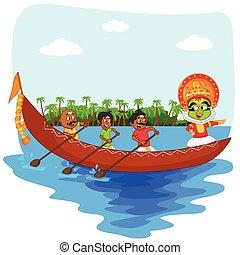 χορευτής , kerala , onam, αγώνας , kathakali, βάρκα