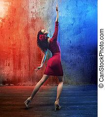 χορεύω , μελαχροινή , ελκυστικός , ομορφιά , λαμβάνω στάση
