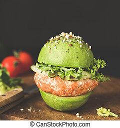 χορτοφάγοs , αβοκάντο , vegan , ή , λουκάνικο , λουκάνικο , φακή , pattie