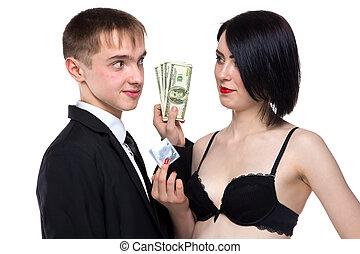 χρήματα , γυναίκα , νέος , ξανθή , άντραs